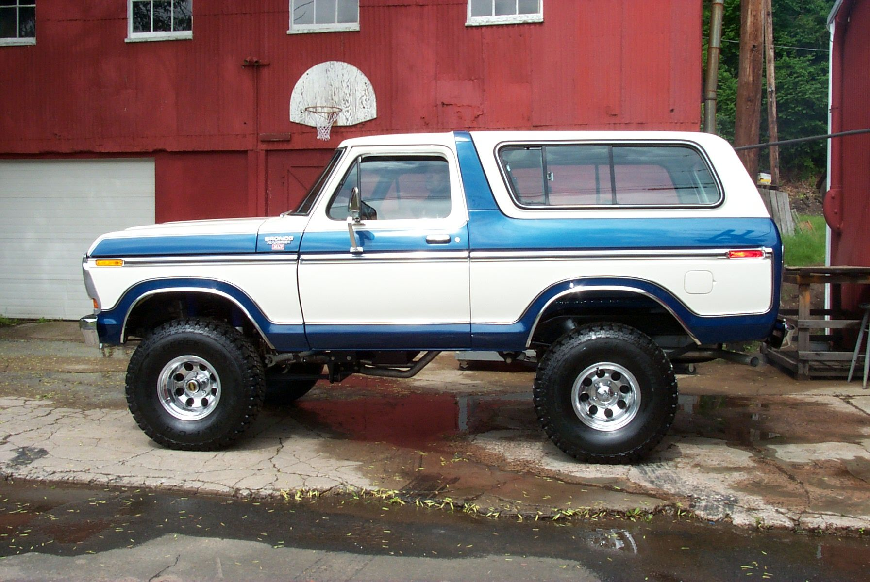 Blue And White Two Tone Lifted Ford Bronco For Off Road Ford