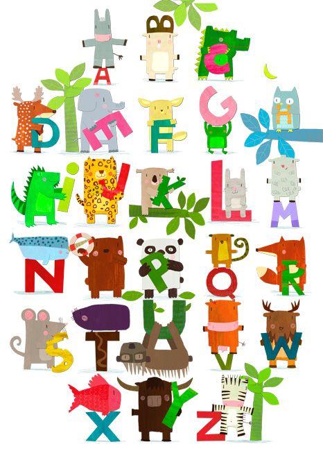 La creación del alfabeto a partir de distintas formas, animales ...