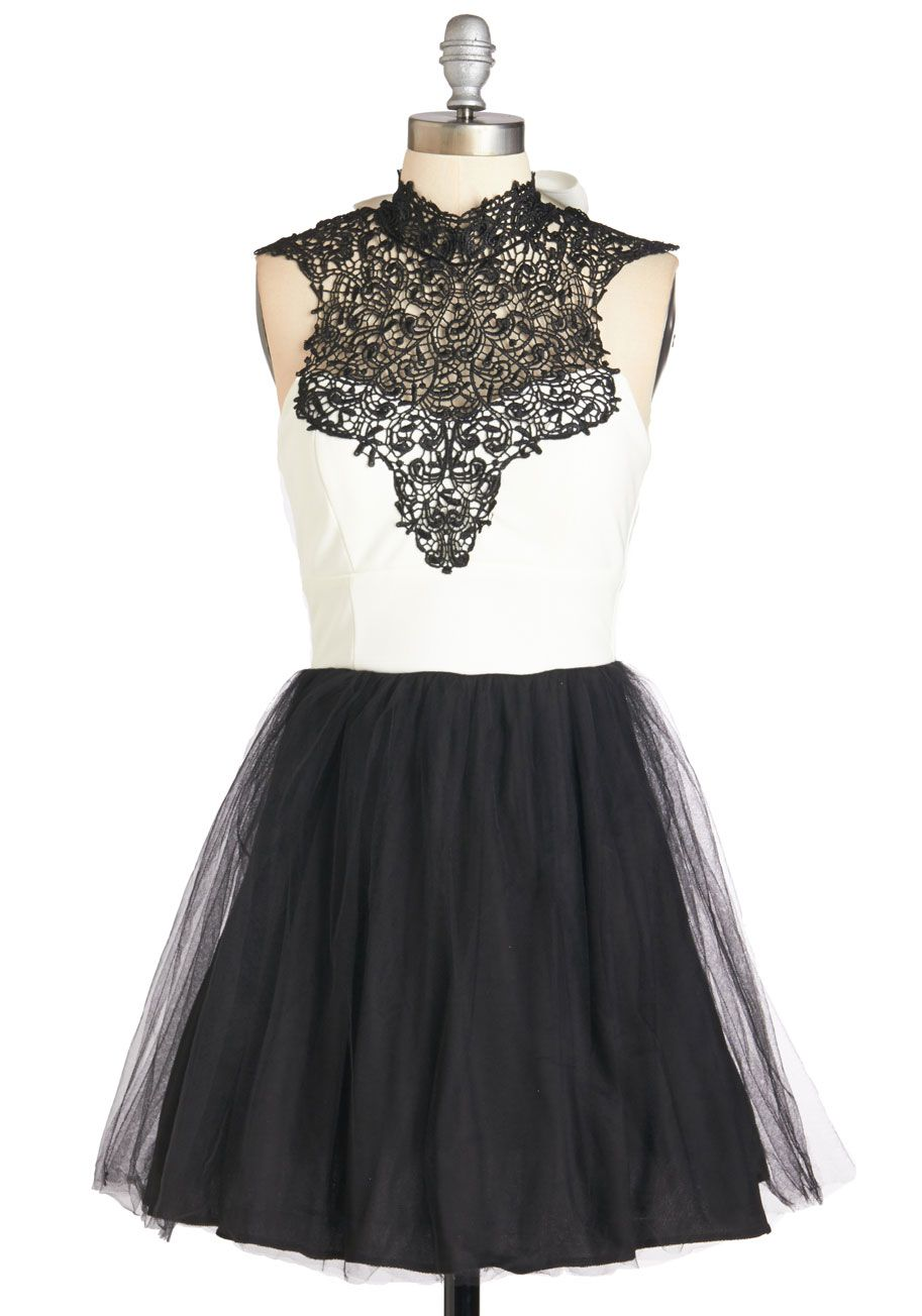 Spotlight on You Dress. Its your time to shine when you don this black and white fit and flare! #prom #modcloth