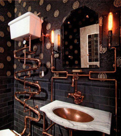 Pin By Nicole Jones On Inspired Baths Steampunk Bathroom Steampunk Bedroom Steampunk House