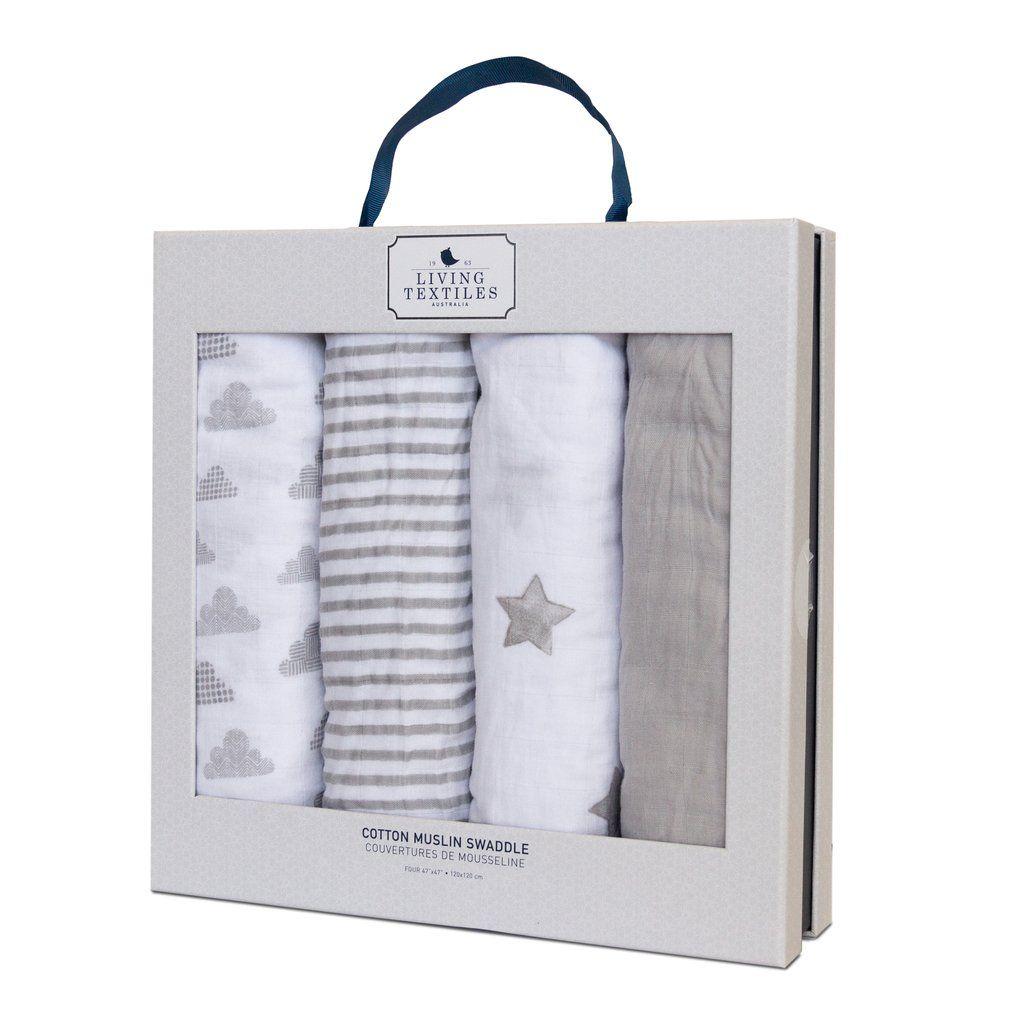 4pk Muslin Swaddle Blankets Baby Bento Gift Set - Grey
