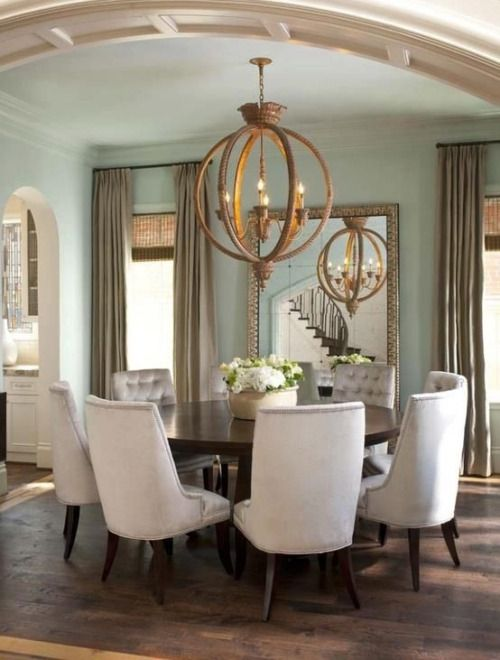 Beau Bellamy Chateau Chandelier DesignNashville.com (usually Looks Cooler In  Color) In An Aqua Dining Room With White Upholstered Chairs, Round Table