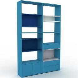 Photo of Wohnwand Blau – Individuelle Designer-Regalwand: Schubladen in Blau & Türen in Blau – Hochwertige Ma