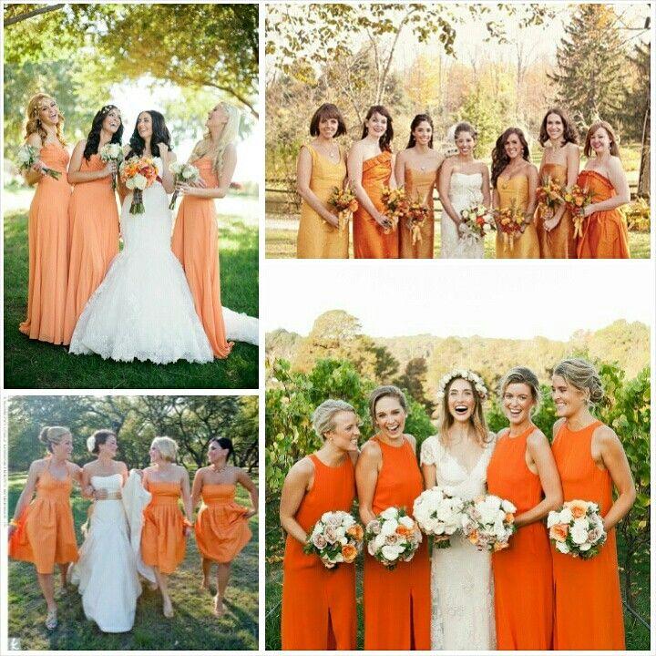 492280a0b160 Orange bridesmaids. For more wedding inspiration visit www.knotsvilla.com