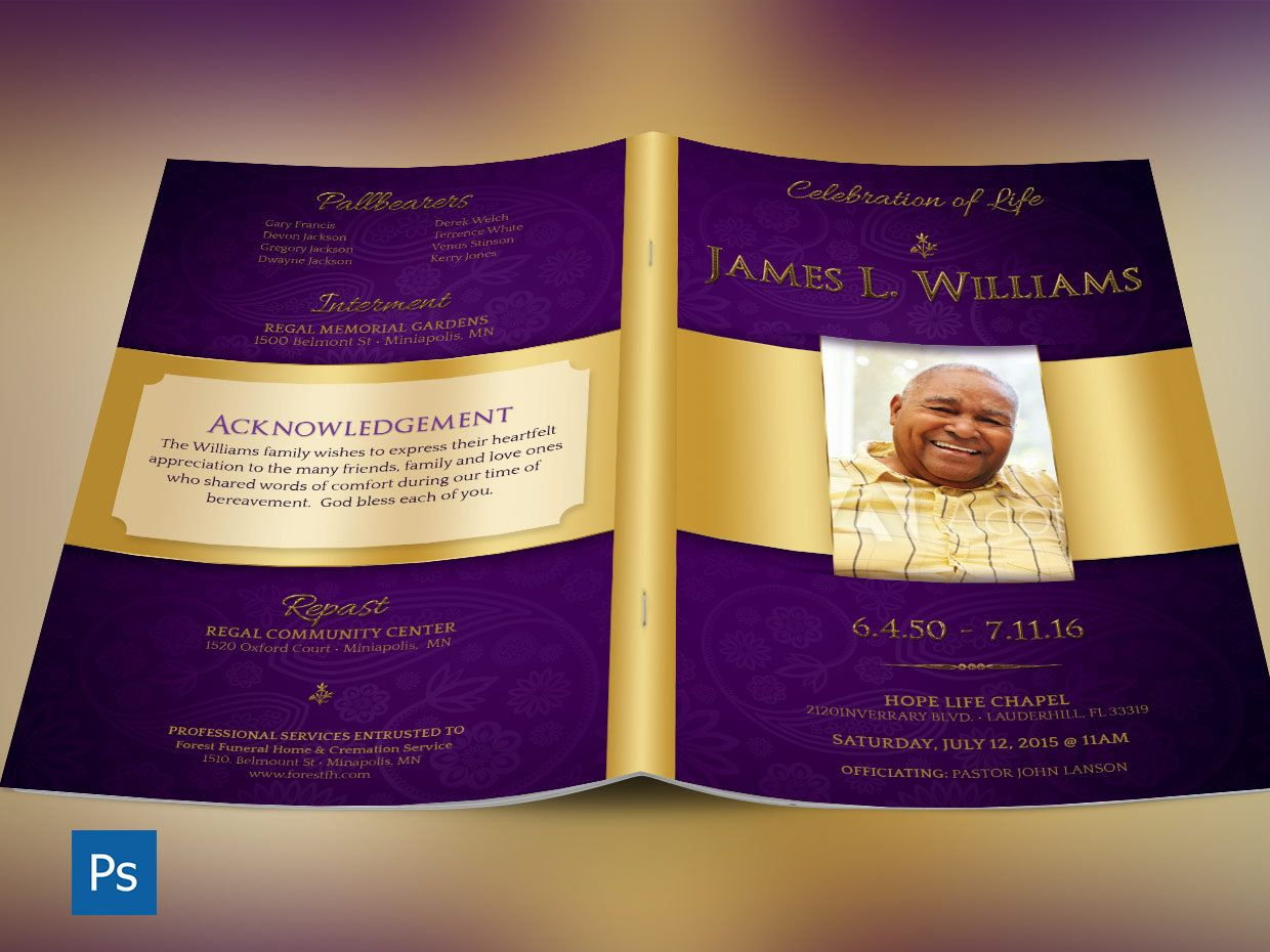 Regal Funeral Program Photoshop Template is for a modern memorial or ...