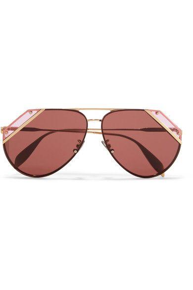 Aviator-style Acetate And Gold-tone Sunglasses - Brown Alexander McQueen z9mTokIBQ