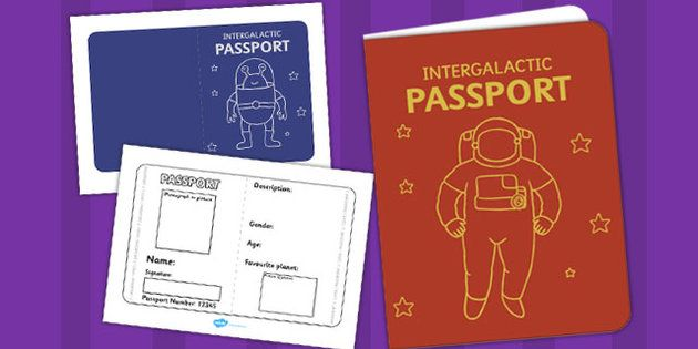 Space Passport Template  Passport Space Intergalactic Design