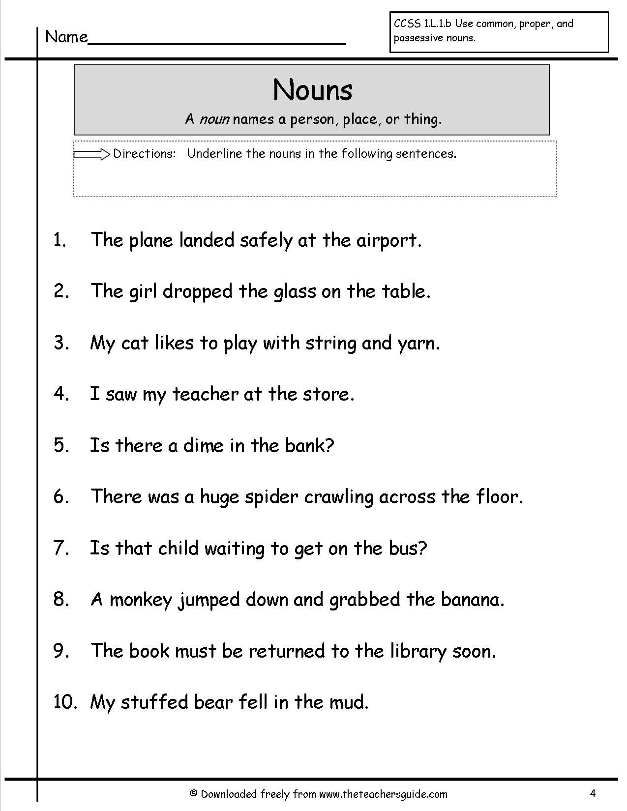 4th Grade Noun Worksheet