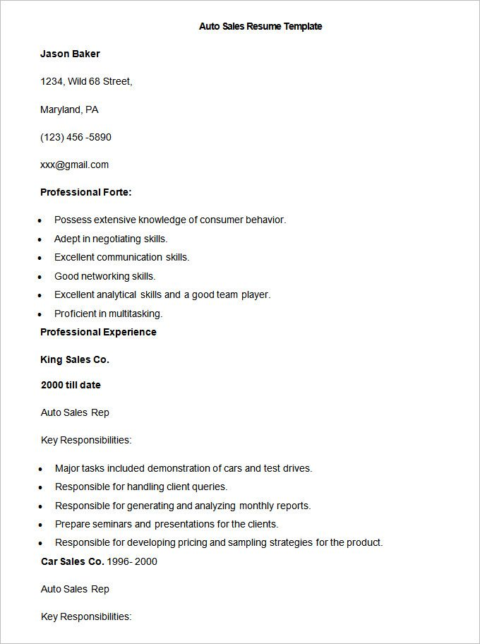 Sample Auto Sales Resume Template Write Your Resume Much Easier