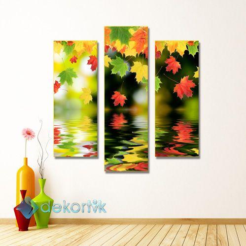 Floral Yaprak Yansimalar Tablo Parcali Kanvas Tablolar Dekor Tablolar Dekorasyon