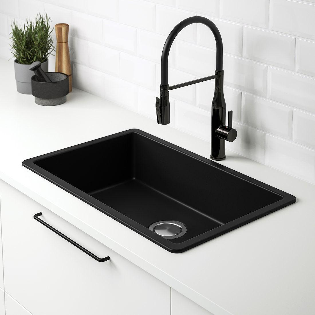 Kilsviken Sink Black Quartz Composite Ikea In 2021 Inset Sink Black Kitchen Sink Sink