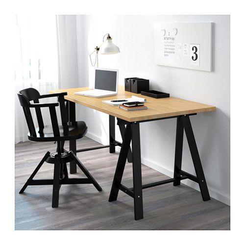 Gerton Oddvald Table Beech Black 61x29 1 2 Ikea Bureau Bois Ikea Meuble Metal