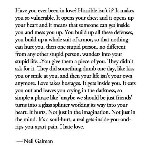 Neil Gaiman On Love Love Lost Love Quotes I Hate Love