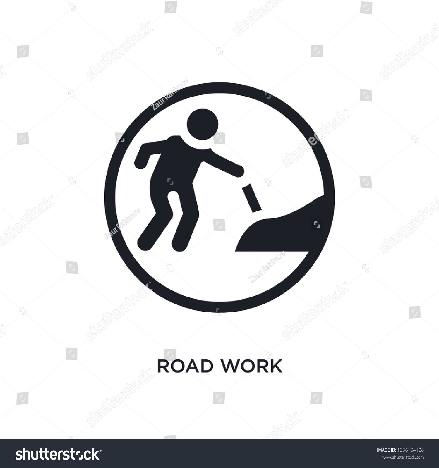Black Road Work Isolated Vector Icon Stock Vector Royalty Free 1356104108 black road work isolated vector icon simple element illustration from traffic signs concept vect...