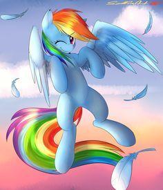Rainbow Dash morning flight.