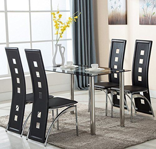 5 Piece Glass Dining Table Set Kitchen Furniture Four Leather Chairs