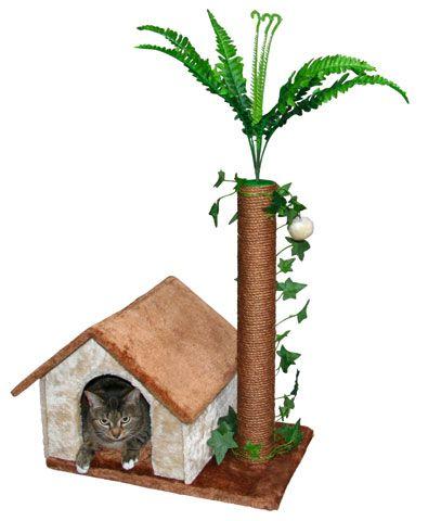 Kratzbaum Jungle einem geräumigen Katzenhaus und einem braunen Sisalstamm