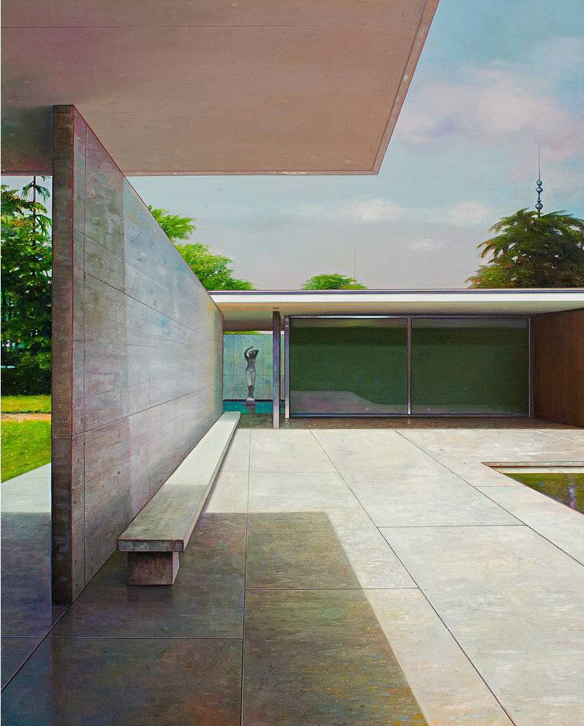 Modern architecture the subject of these paintings by artist jens hausmann paintings that depict a modern structure but have an artist interpretation can