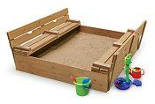 The benches fold closed to cover the sandbox.  Love!