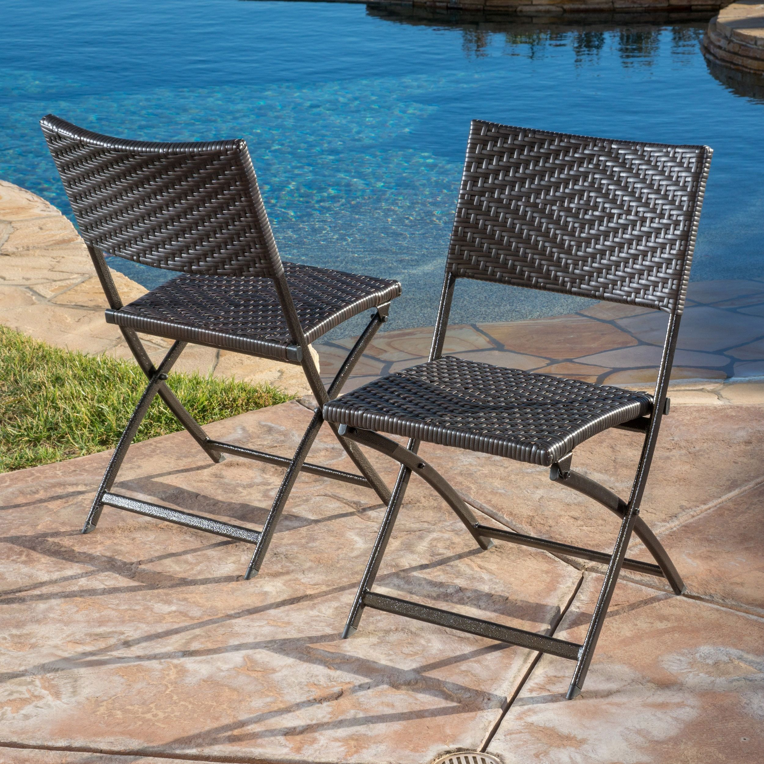 El Paso Outdoor Brown Wicker Folding Chair Set of 2 by