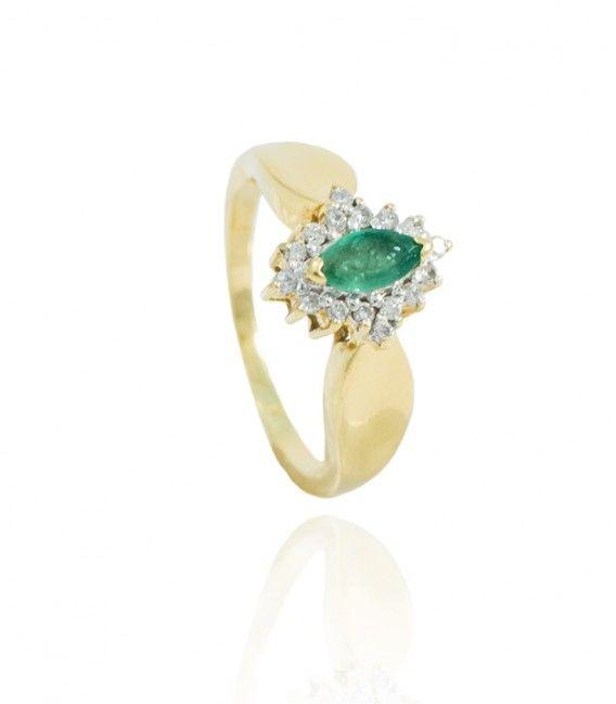 c8bb81fbe616 Sortija con Rosetón de Esmeralda y Diamantes