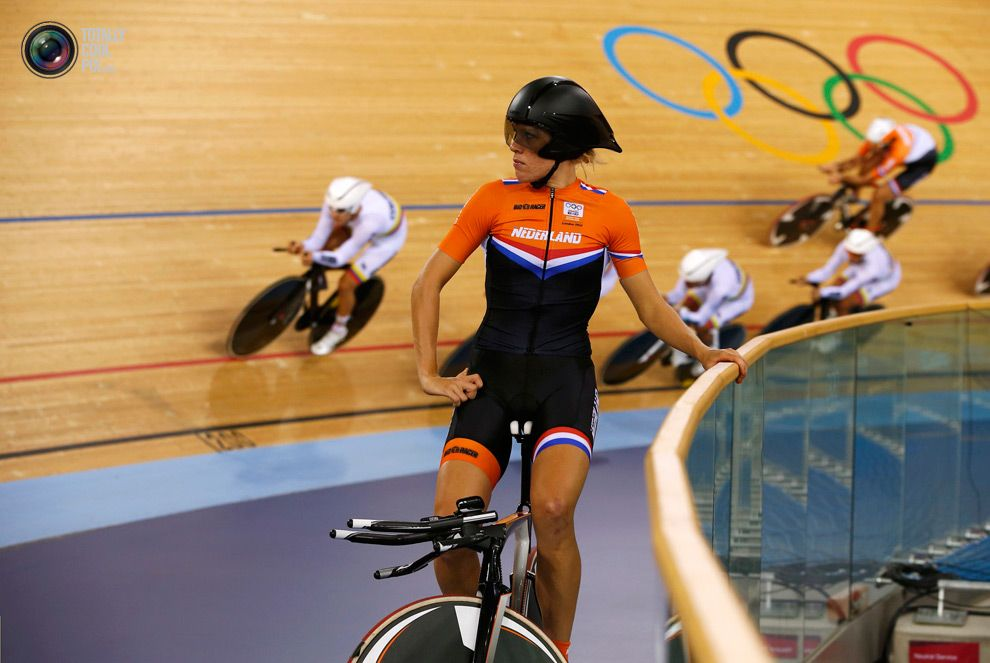 Day 7 - Netherlands' Ellen van Dijk looks around before the track cycling events at the Velodrome during the London 2012 Olympic Games . PAUL HANNA/REUTERS