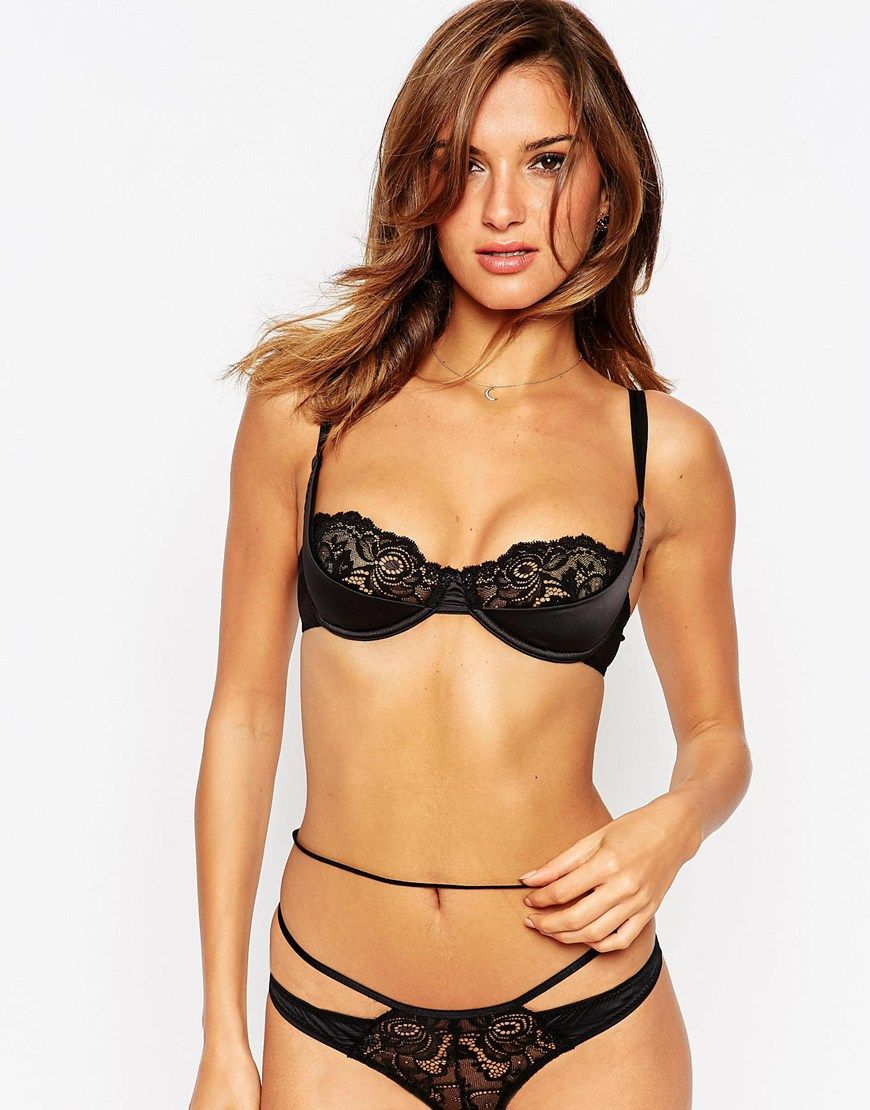 ASOS Katie-May Lace & Satin Moulded Half Cup Underwire Bra ...