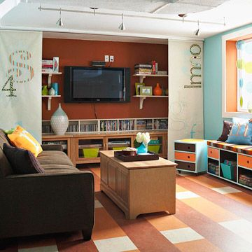 Simple Projects For A Basement Family Room Living Room Storage