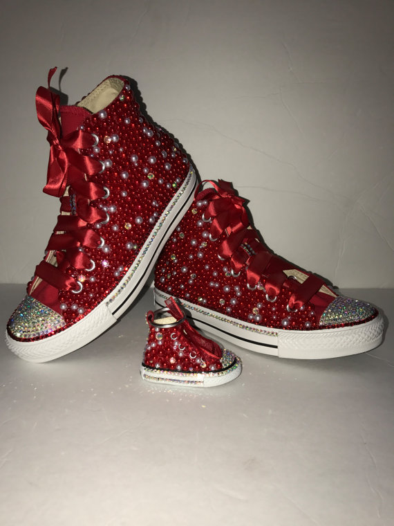 29d9ce8b8c5b WOMEN s Red Bling Converse All Star Chuck Taylor Sneakers HIGH TOP ...