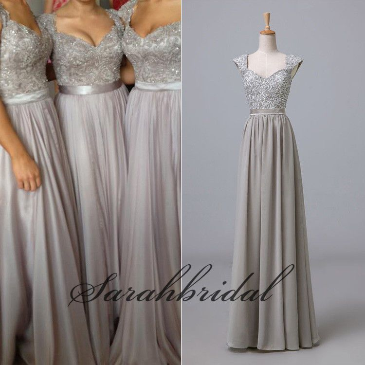 Cap sleeves prom cocktail gowns long party evening for Silver wedding dresses for bridesmaids