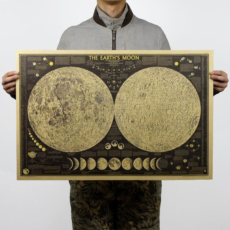7248cm Vintage Poster Globe World Map Moon