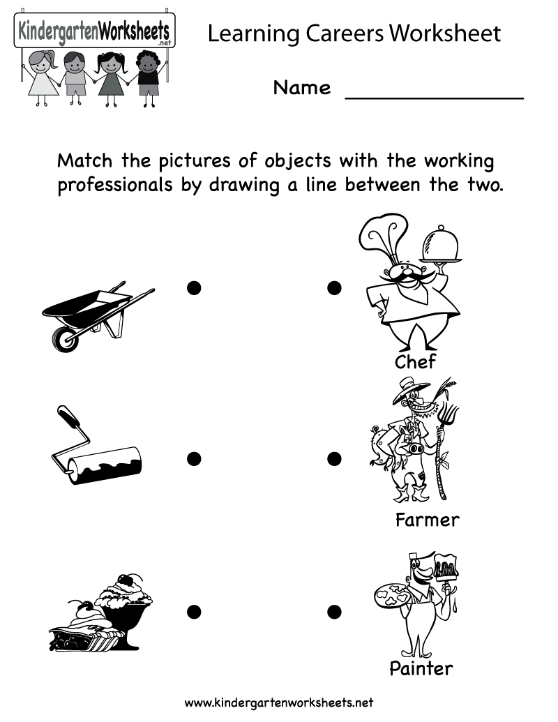 kindergarten learning careers worksheet printable - Fun Printable Worksheets For Kids