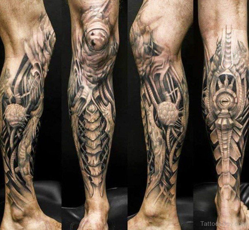 Biomechanical Tattoo Design On Leg Biomechanical Tattoo Street Tattoo Leg Tattoos