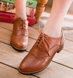 Fashion Women's Preppy Loafer Lace Flats Oxfords Lace Up Low Heels Brogue Shoes
