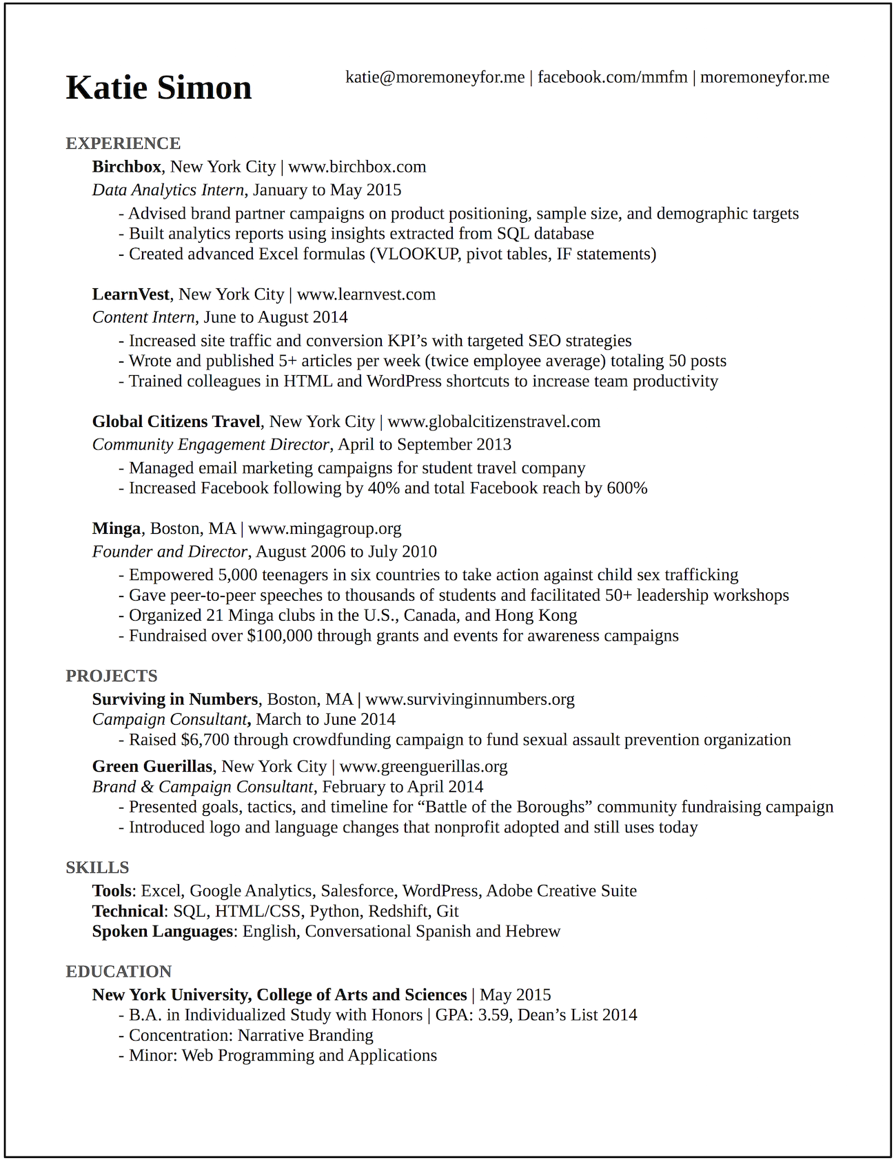 Wonderful This Résumé Landed Me Interviews At Google, BuzzFeed, And More Than 20 Top  Startups
