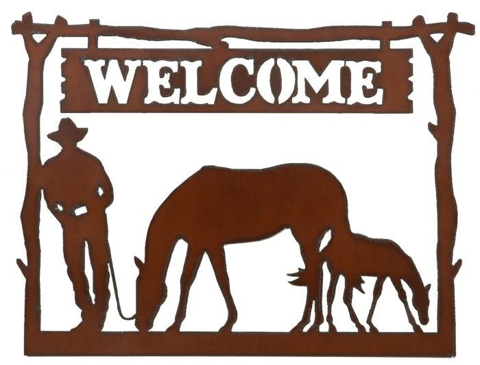 brown metal cowboy and horse ranch welcome sign western wall decor barn art rusticironwerks - Western Wall Decor