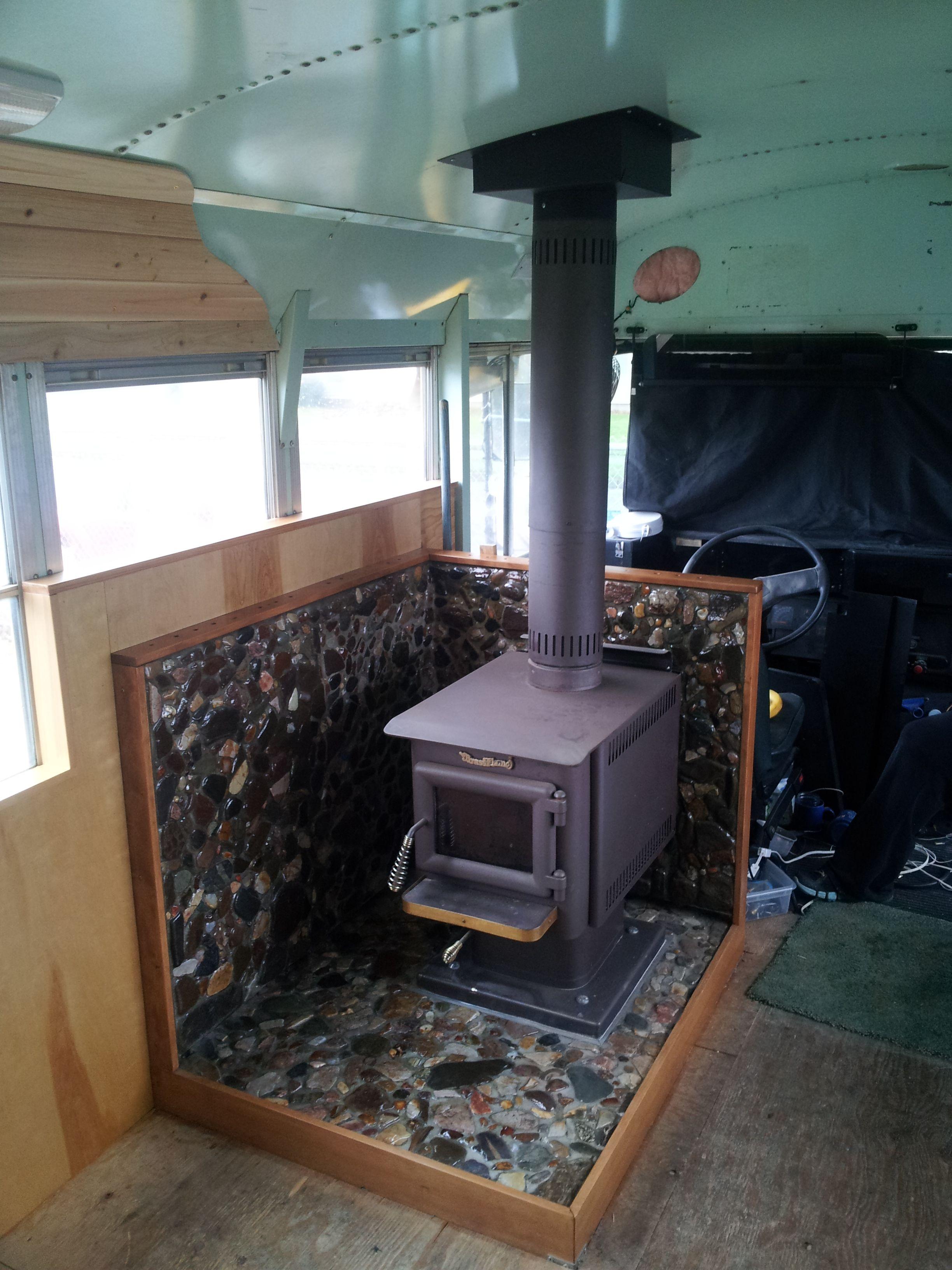 Skoolie Bus Woodstove Inspiring Ideas Bus Camper Rv