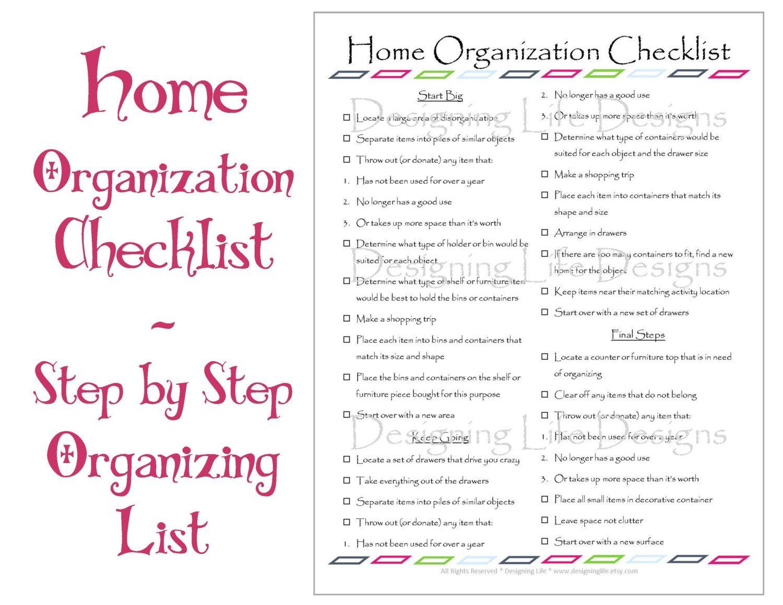 Home organization checklist pdf printable basic organizing list