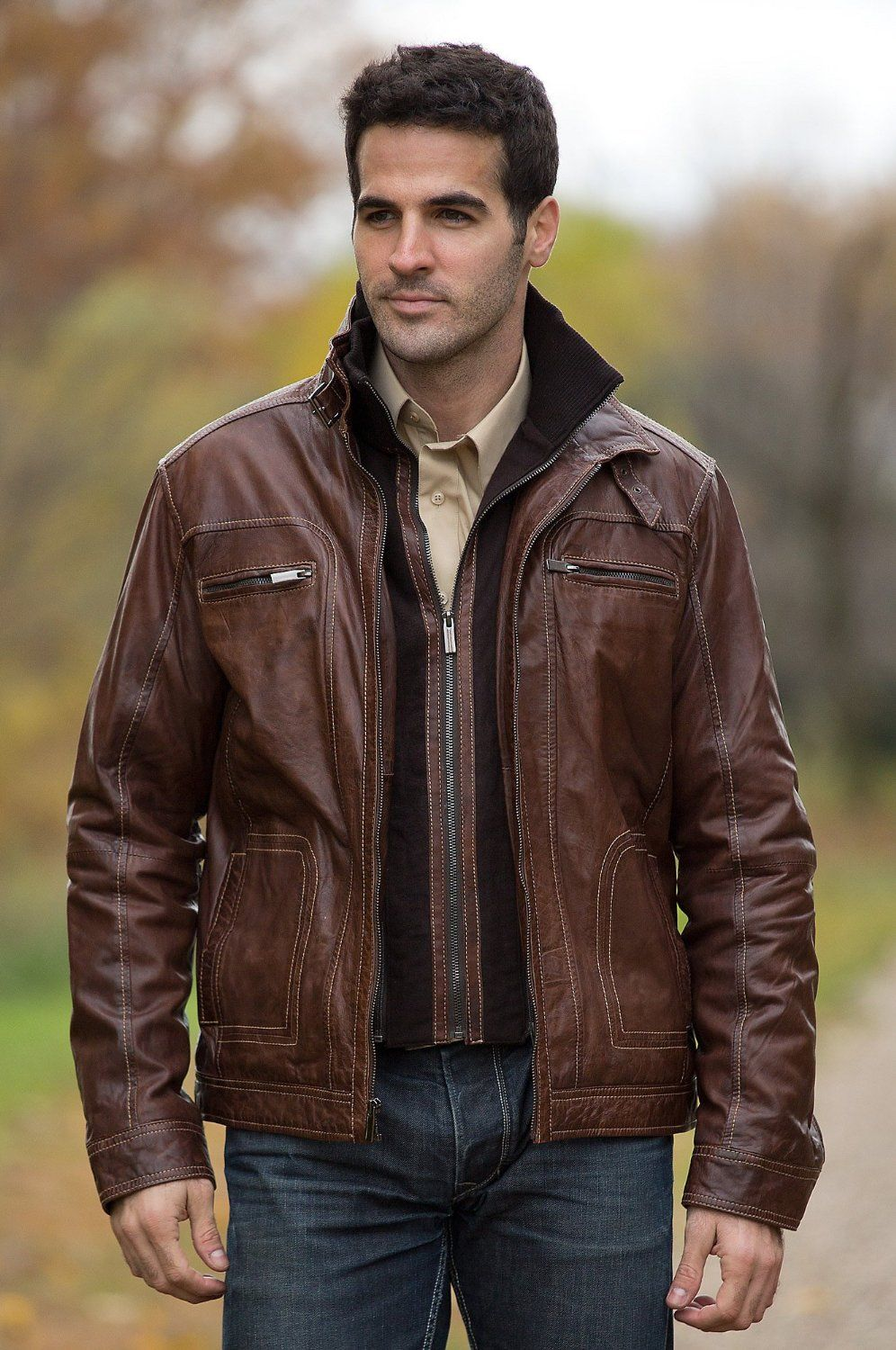Men's dark brown leather bomber jacket – New Fashion Photo Blog