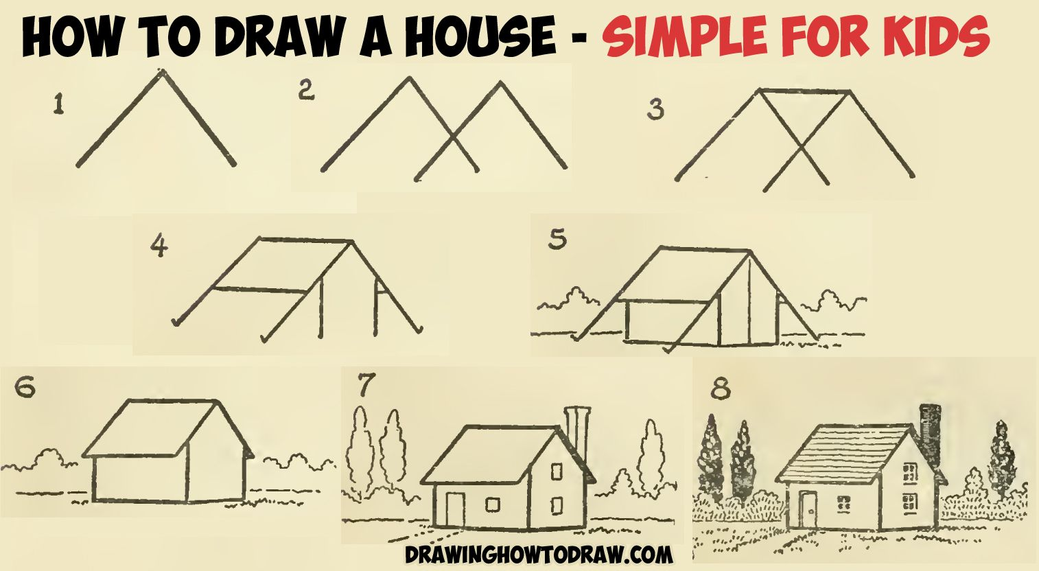 How to draw a simple house with geometric shapes easy step by step drawing tutorial for