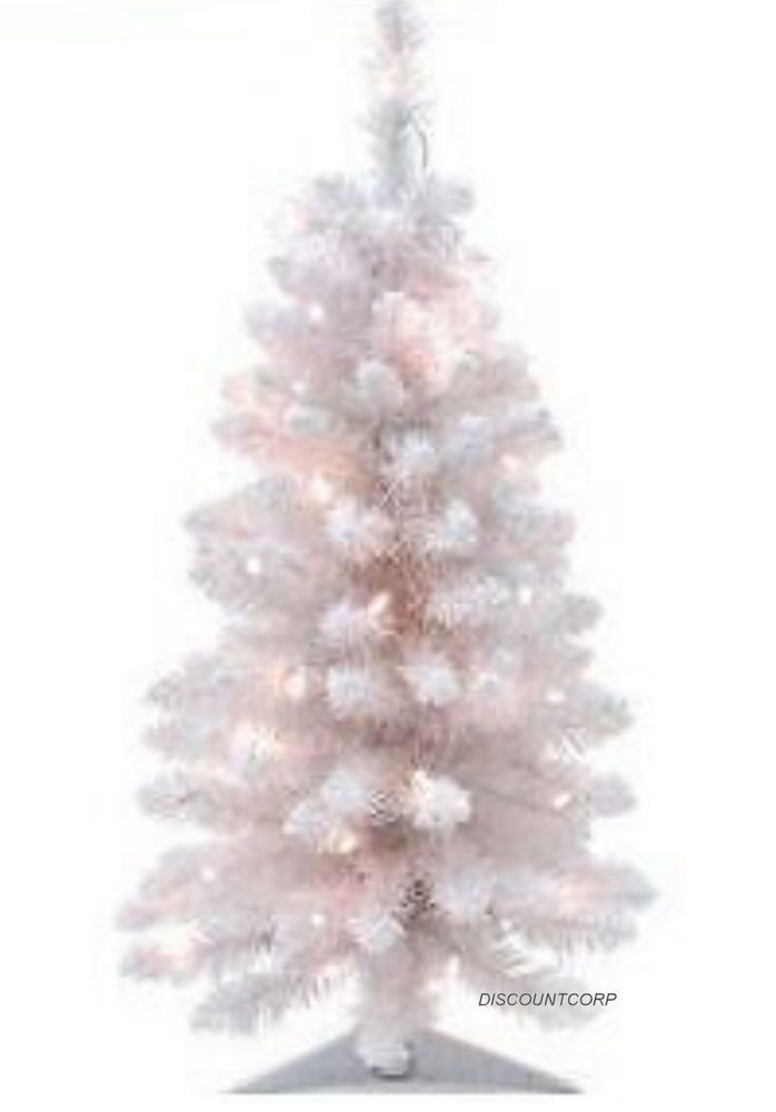 3 ft white prelit artificial christmas flock frosted tree 35 lights 118 tips new