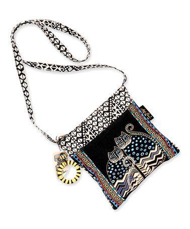 Love this Black & Blue Polka Dot Cats Crossbody Bag on #zulily! #zulilyfinds