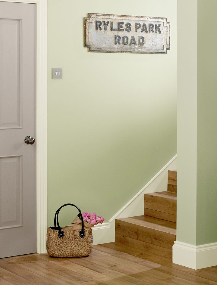 Almost sage matt hall stairs crown paints - Crown paint colours for living room ...