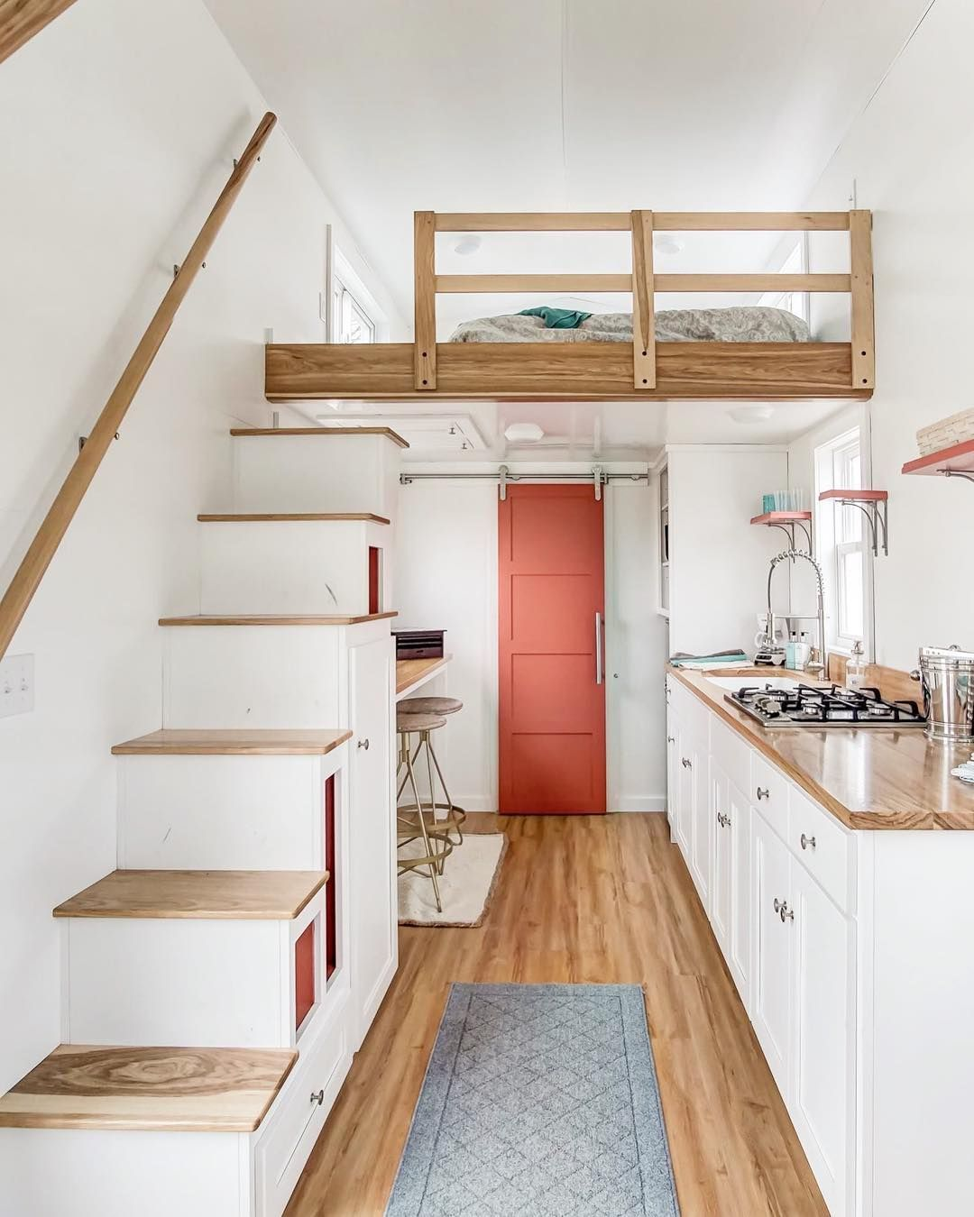 Modern Tiny Living On Instagram In An Era Where Tiny Homes Are Exploding In Price And Opulence Tiny House Kitchen Tiny House Design Tiny House Living Room