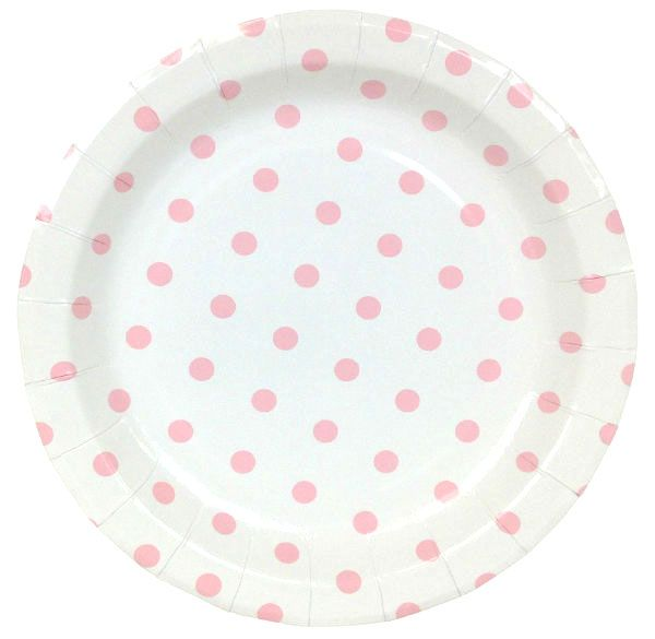 Round Party Paper Plates 9in 12pcs Baby Pink Polka Dot Paper Plates Party Polka Dot Paper Pale Pink Paper Plates
