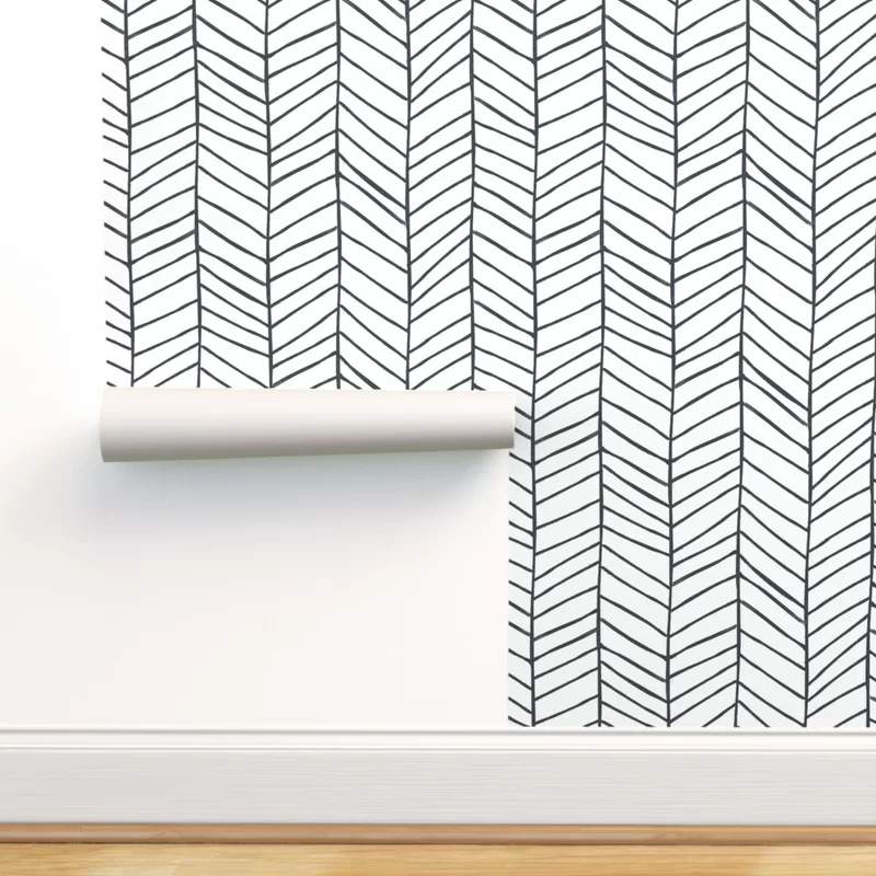 Peel And Stick Removable Wallpaper You Ll Love In 2020 Wayfair In 2020 Herringbone Wallpaper Black And White Wallpaper Self Adhesive Wallpaper