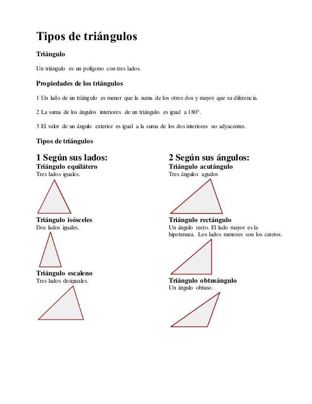 Tipos de triángulos Triángulo Un triángulo es un polígono con tres ...
