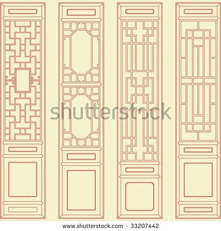 Vector Of Traditional Asian Window And Door Pattern Asian Doors Asian Windows Chinese Interior