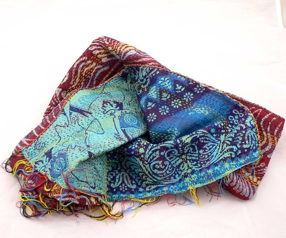 Indian Kantha 100% Silk Scarf New Vintage Handmade Textiles Blue & Red No 181