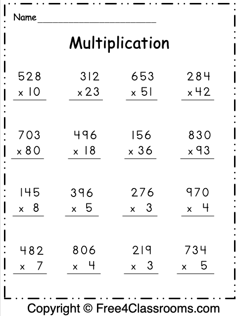 Free Multiplication Worksheet 2 Digit And 3 Digit By 1 Digit F In 2020 Multiplication Worksheets Printable Multiplication Worksheets Free Multiplication Worksheets